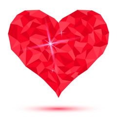 love-heart-crystal-red-on-a-white-background