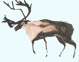 Drawing on paper of deer on blue background