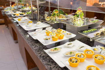 Buffet is a portioned salads on  table