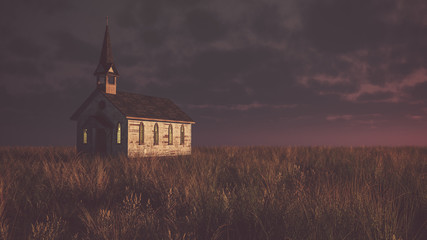 Old abandoned white wooden chapel on prairie at sunset with clou Wall mural