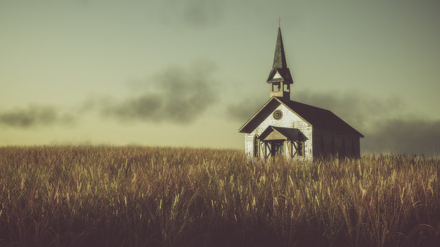 Old abandoned white wooden chapel on prairie at sunset with clou