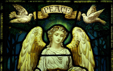 Wall Mural - Angel with doves and peace