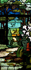 Fototapete - Nature: trees, flower and birds in stained glass