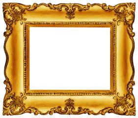 Golden Frame isolated on white