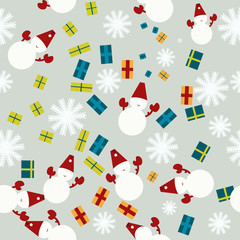 Vector seamless winter pattern in flat style