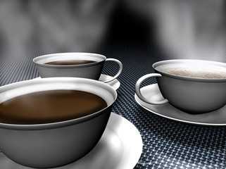 A few cups of coffee 3d rendered
