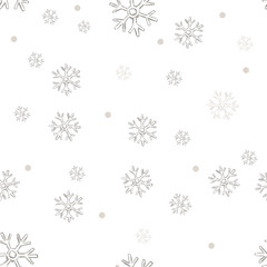 Vector Seamless Winter Pattern Backround of Snowflakes