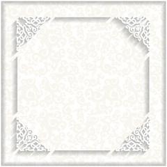 3d frame. White background, white ornament.