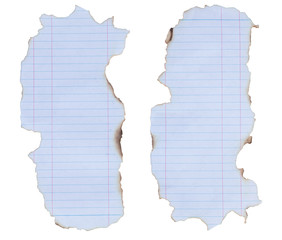 Lined paper with burned edges