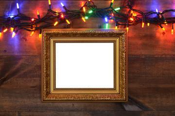 gold frame with christmas lights