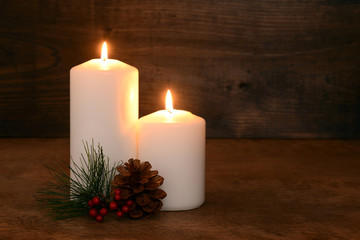 two christmas candles