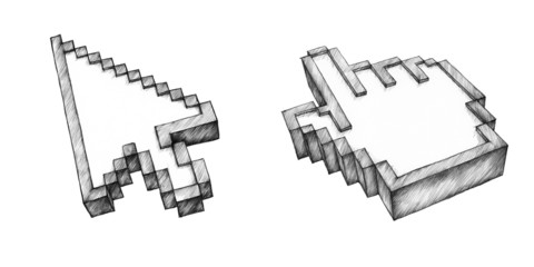 Zwei handgezeichnete Cursor