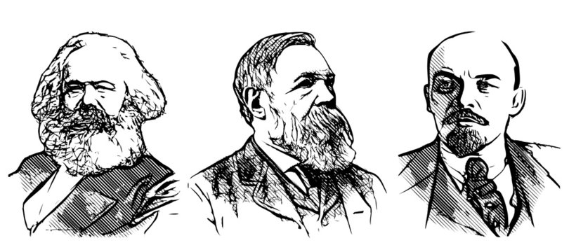 Marx, Engels and Lenin portraits