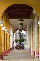 Colonial architecture in a Remedios town, Cuba