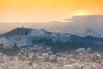 Panorama during sunset in  Athens, Greece