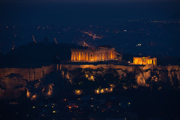 Athens in darkness with lights, Greece