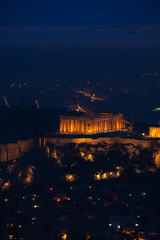 Night view of Athens with Parthenon temple, Greece