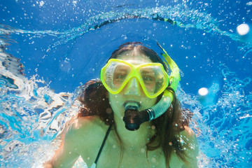 Close up view of woman swimming underwater