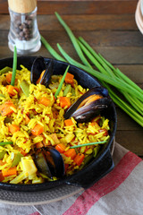 Traditional paella with mussels