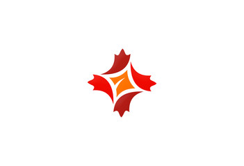 canada leaf in circle abstract vector