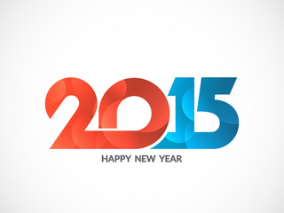 Colorful text design of happy new year 2015