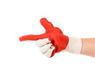 Fotorolgordijn Rood, zwart, wit Hand in gloves holds as gun.