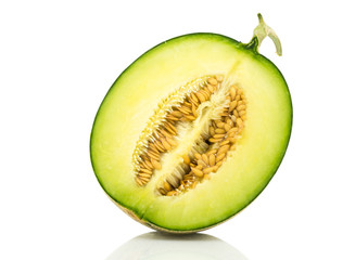 Half Japan melon slice on white background