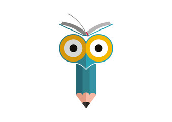 Owl pencil book education logo illustration