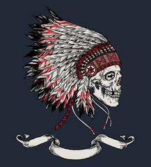 Indian skull hand drawn vector illustration