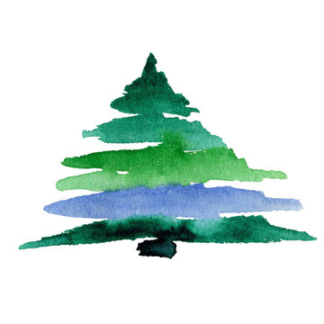 Watercolor Christmas tree isolated on a white background..