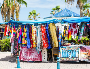 Colorful Garments in Tropical Flea Market