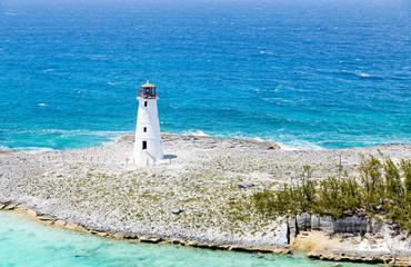 White Lighthouse on Rocky Beach