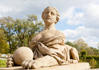 Sculpture of a sphinx on Big terrace of Massandra palace, Yalta