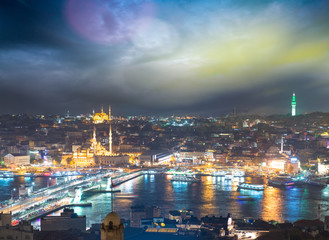 Istanbul, Turkey. Gorgeous view of city skyline at dusk with Gal