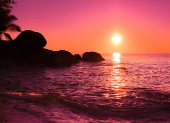 Wall Murals Candy pink Coast Sunrise Seascape