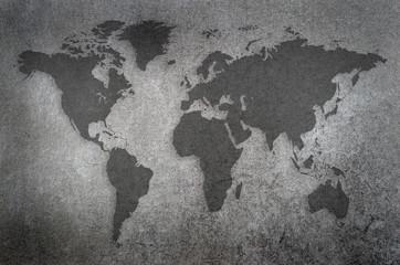 world map draw on chalkboard
