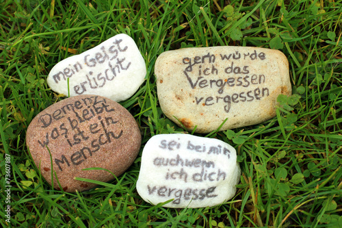 sprüche demenz Sprüche über Demenz auf Steinen im Gras