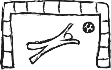 doodle  soccer goalkeeper trying to stop goal symbol