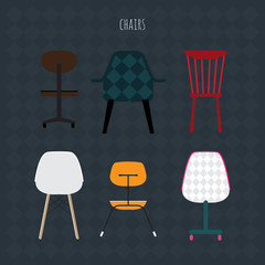 Set of colorful chairs. Vector flat illustration.