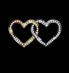 two jewelery hearts