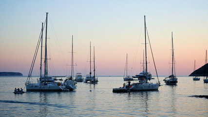 Yachts at the sunset in Croatia