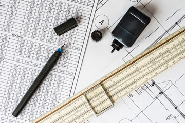Workplace of engineer, tools for sketching and plan of the commu