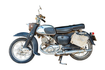 Old dirty motorcycle with rust on isolated background
