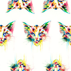 Cat. animal .seamless texture .watercolor illustration