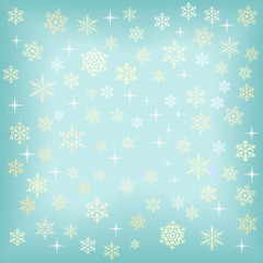 Christmas background with various snowflakes.