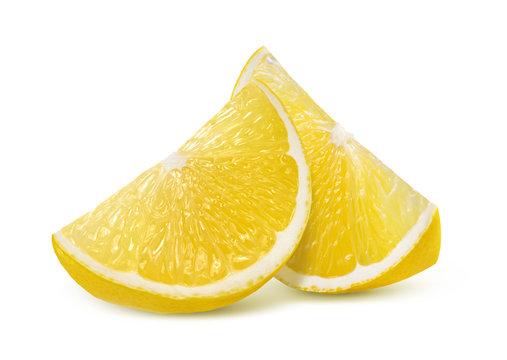 Two fresh lemon quarter slices isolated on white