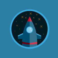 Flat Design Rocket With Stars In Circle