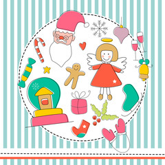 Christmas icon set in color. Vector doodle illustration.