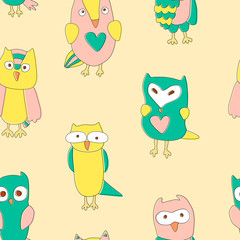 Seamless and colourful pattern with doodle owls.