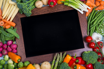 vegetable with chalk board